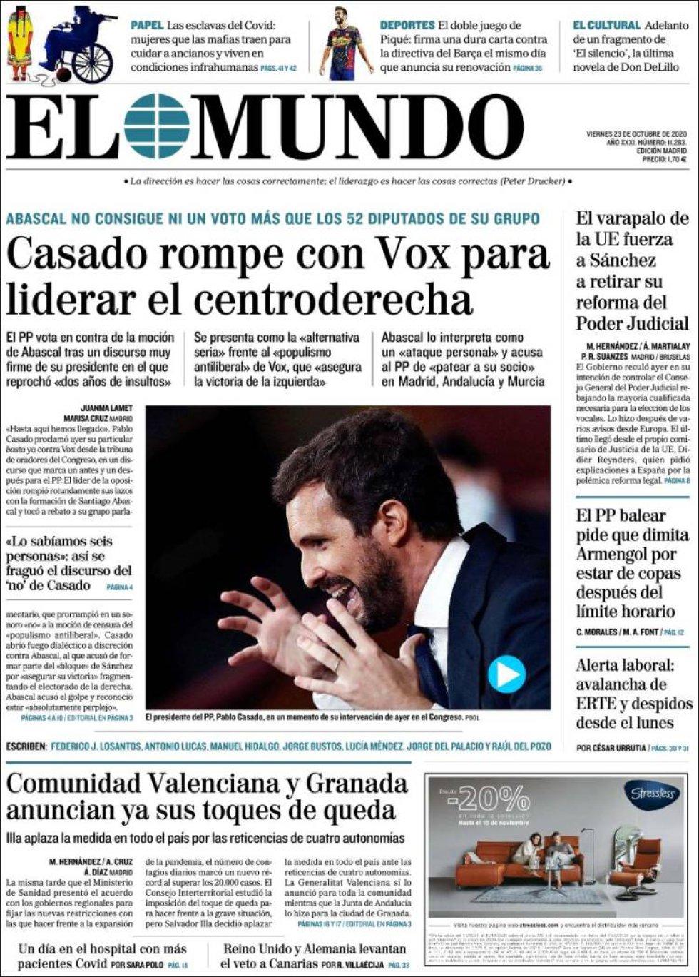 'Casado rompe con Vox para liderar el centroderecha', titula 'El Mundo'