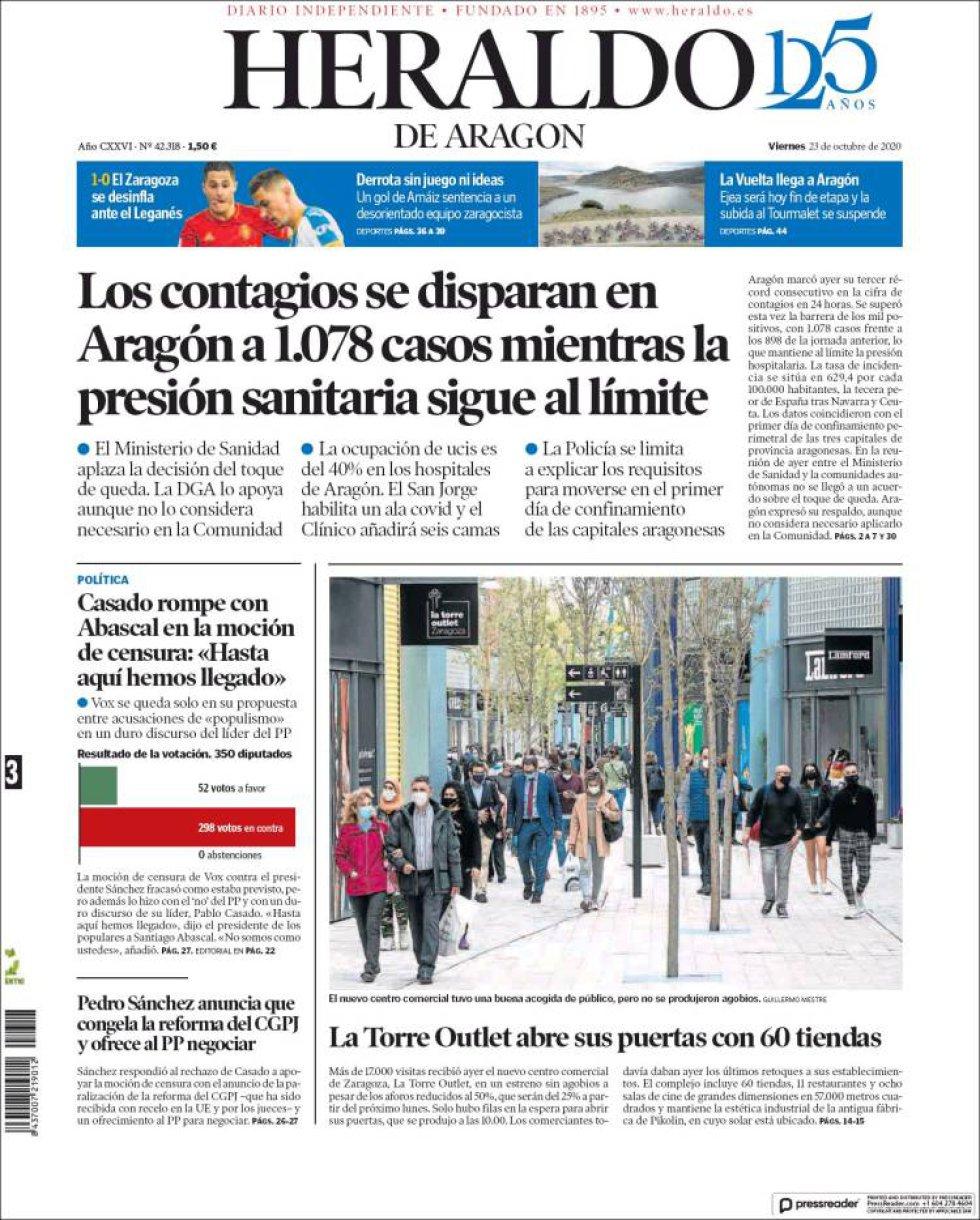 """'Casado rompe con Abascal en la moción de censura: """"Hasta aquí hemos llegado"""", titula 'Heraldo de Aragón'"""