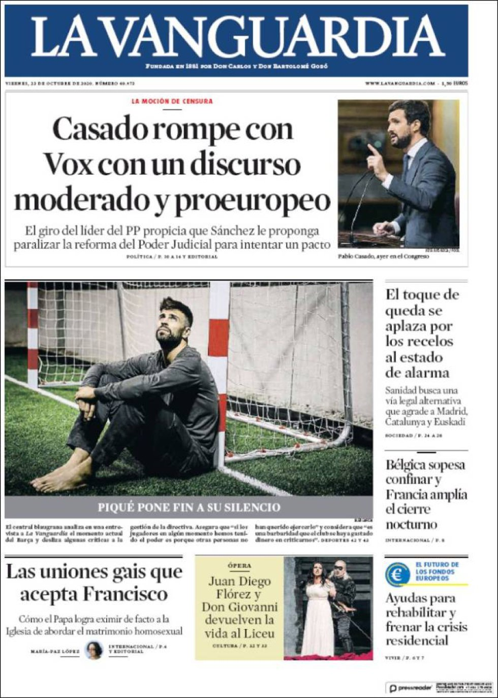 'Casado rompe con Vox con un discurso moderado y proeuropeo', titula 'La Vanguardia'