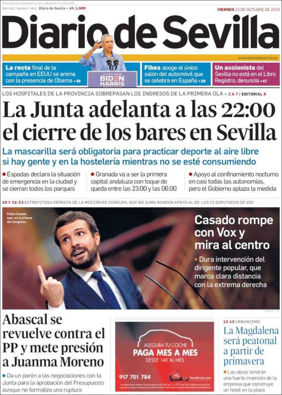 'Casado rompe con Vox y mira al centro', titula 'Diario de Sevilla'