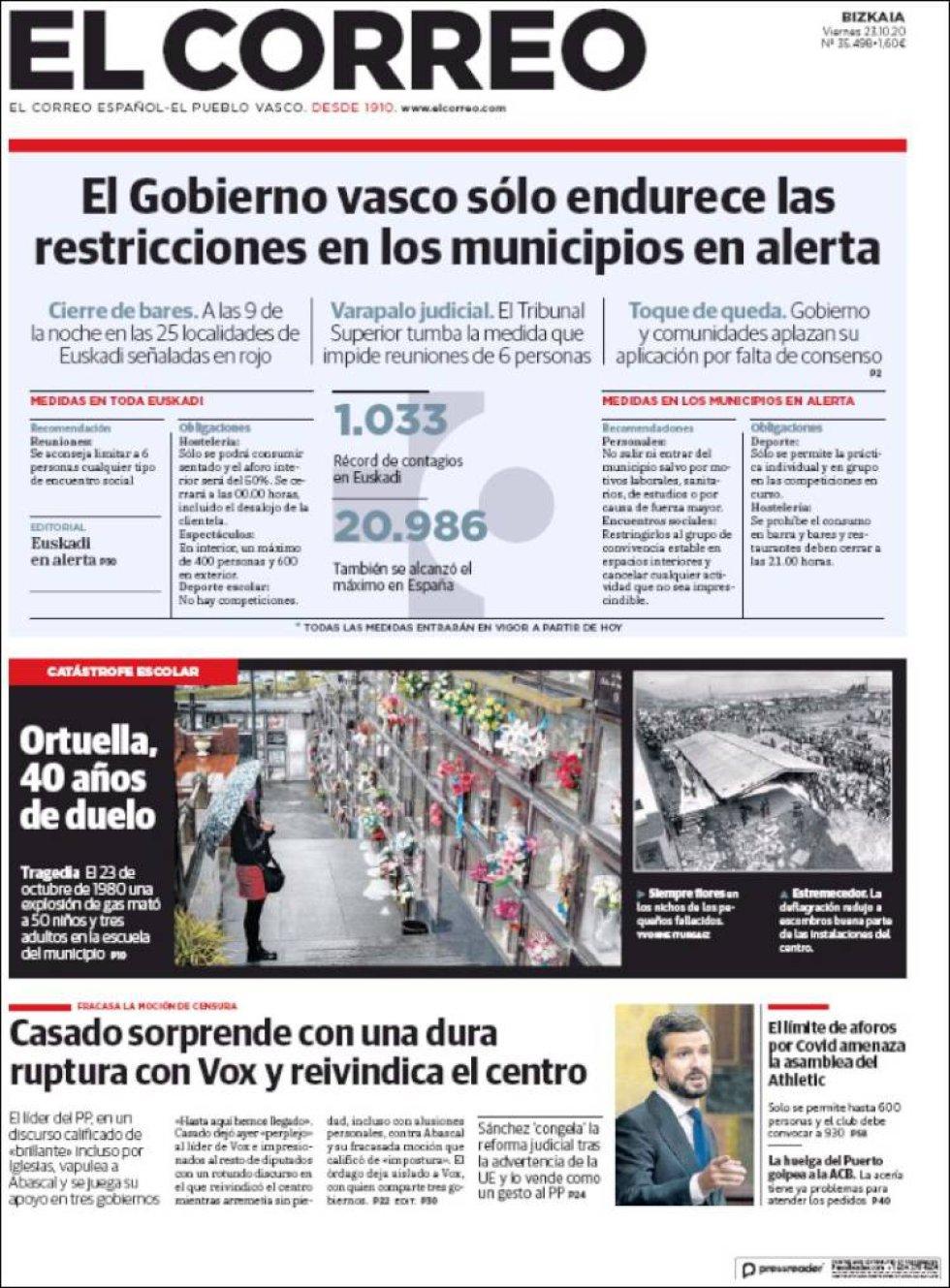 'Casado sorprende con una dura ruptura con Vox y reivindica el centro', titula 'El Correo'