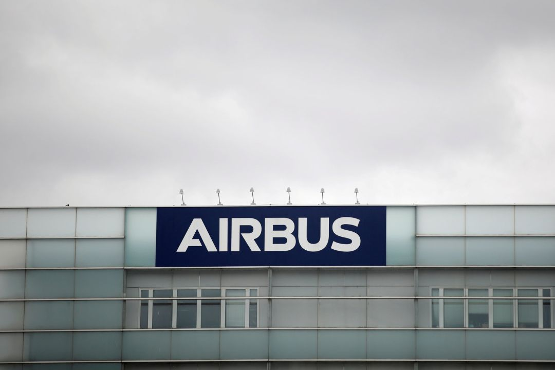 A logo of Airbus is seen at the entrance of its factory
