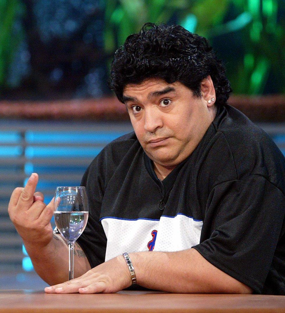 Diego Armando Maradona, durante la grabación de un programa televisivo en Buenos Aires, el 19 de setiembre de 2004.