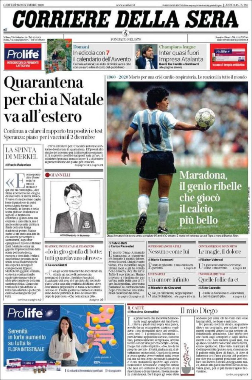 'Maradona, el genio rebelde que jugó el fútbol más bello', dice 'Corriere della Sera'