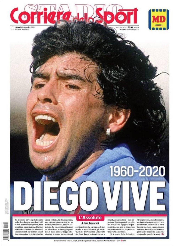 'Diego Vive', la portada del 'Corriere dello Sport'