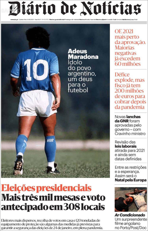 'Adiós, Maradona', despide el periódico portugués 'Diário de Noticias'