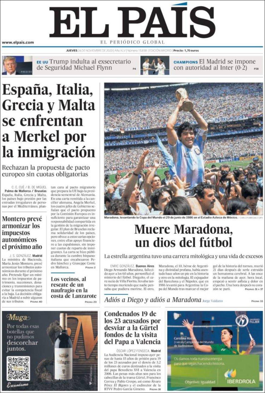 'Muere Maradona, un dios del fútbol', titula 'El País'