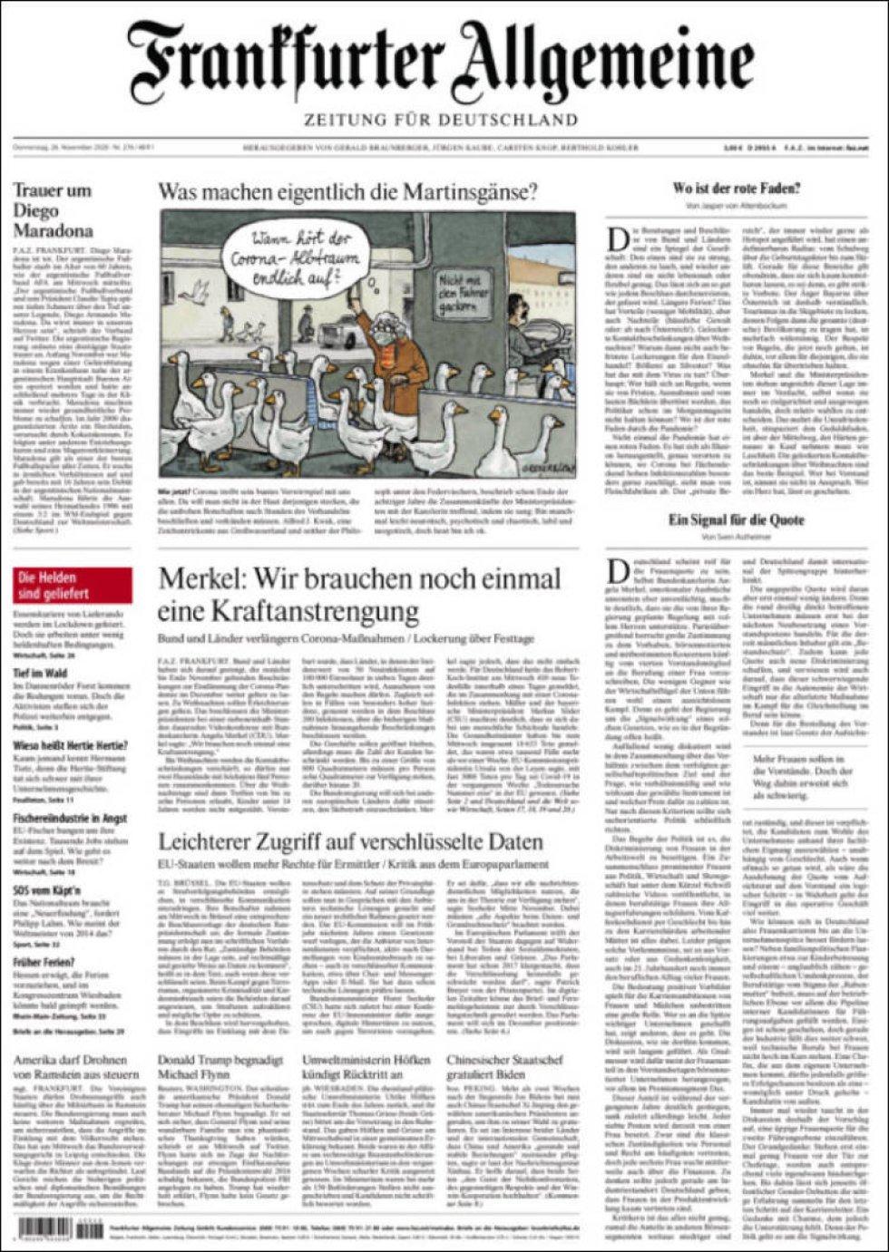 El 'Frankfurter Allgemeine' dedica solo una columna pequeña a la muerte de Maradona: 'Luto por Diego Maradona'