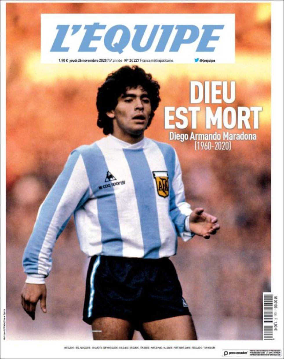 El diairo deportivo francés 'L'Equipe' titula 'Dios ha muerto'