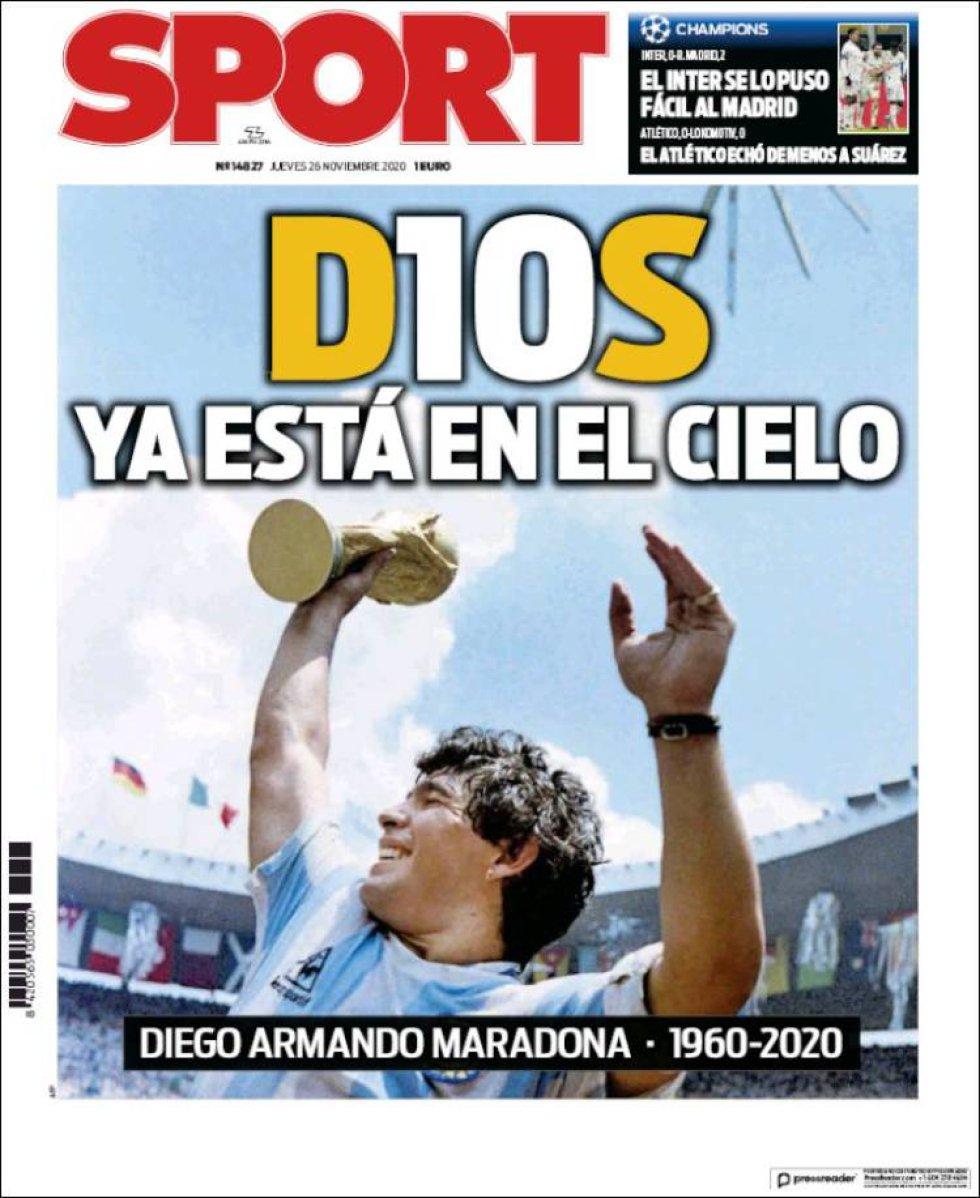 'D10S ya está en el cielo', titula 'Sport'
