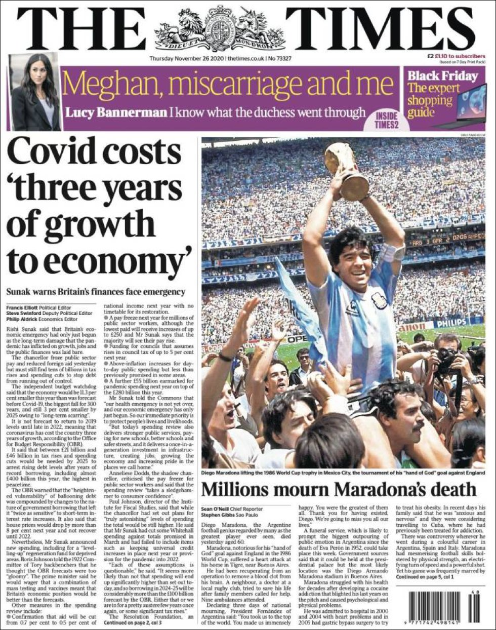 'Millones mueren la muerte de Maradona', titula el diairo británico 'The Times'