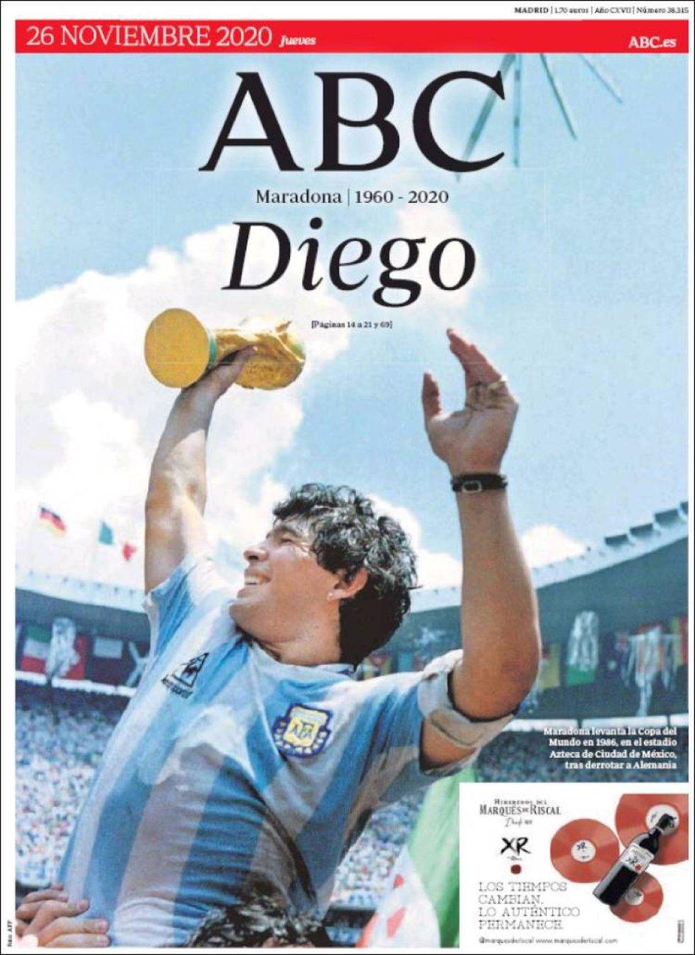 ABC dedica toda su portada a Maradona