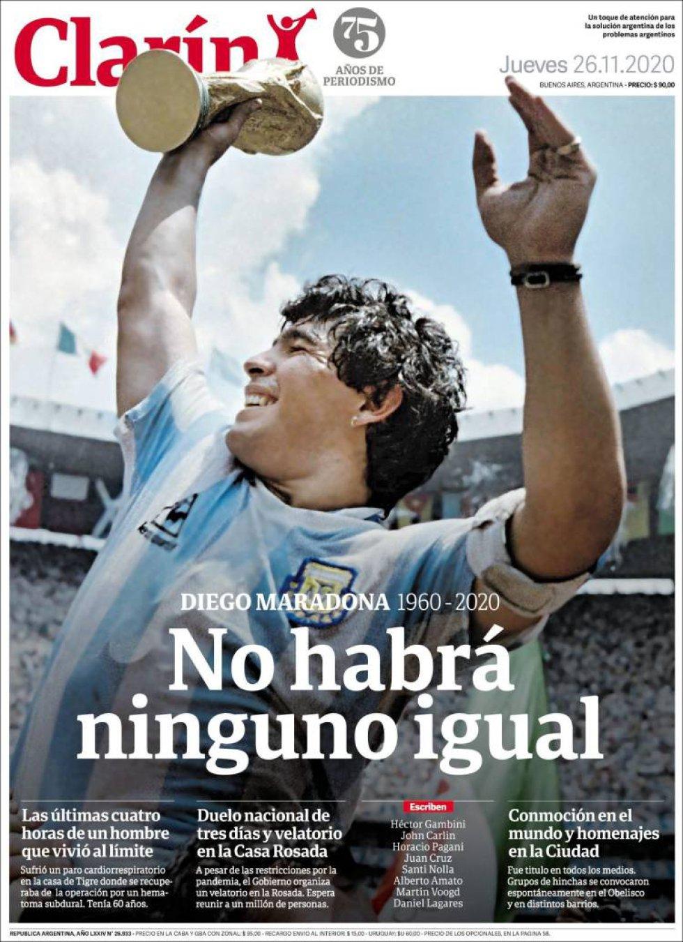 'No habrá ninguno igual', dice el diario argentino 'Clarín'