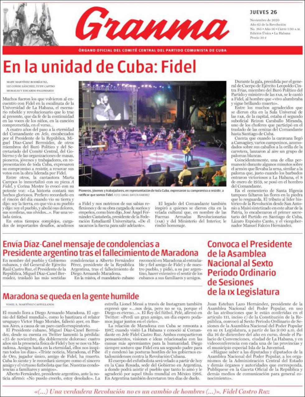 'Maradona se queda en la gente humilde', titula el diario cubano 'Granma', que no le da la foto de portada al futbolista, que vivió largas temporadas allí
