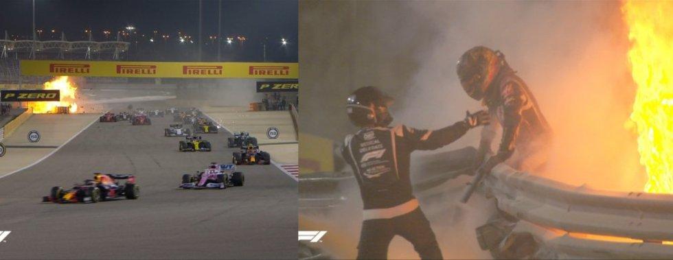 El piloto Romain Grosjean, fuera de peligro tras sufrir un gravísimo accidente en el Gran Premio de Baréin