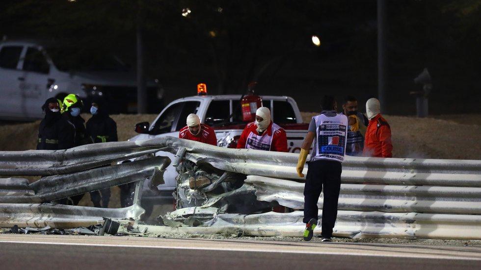 Así ha quedado el coche de Grosjean tras el accidente
