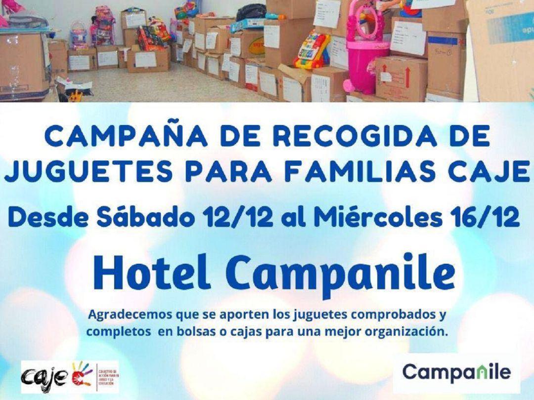 Cartel de la recogida solidaria de juguetes organizada por el colectivo CAJE.