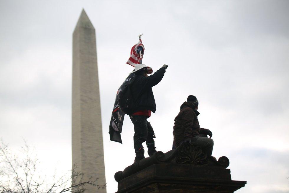 Seguidores de Trump, frente al National Mall de Washington.