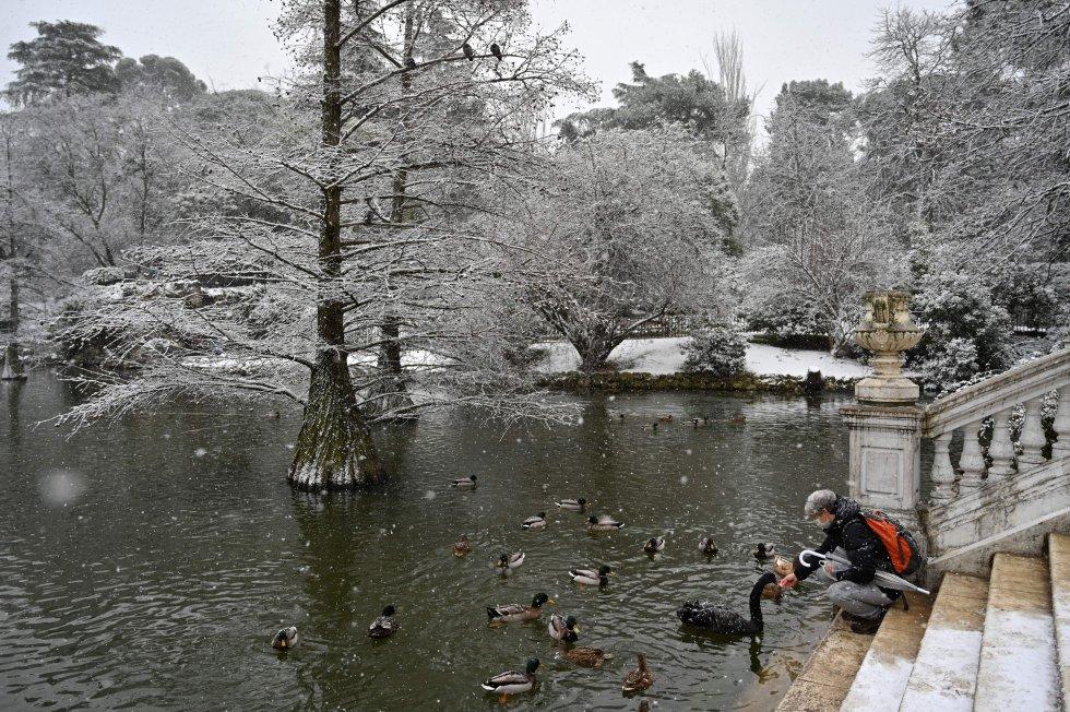 El parque del Retiro de Madrid, nevado.