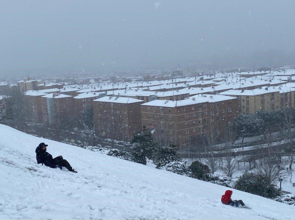El temporal Filomena. Fotografía de Vallecas (Madrid).