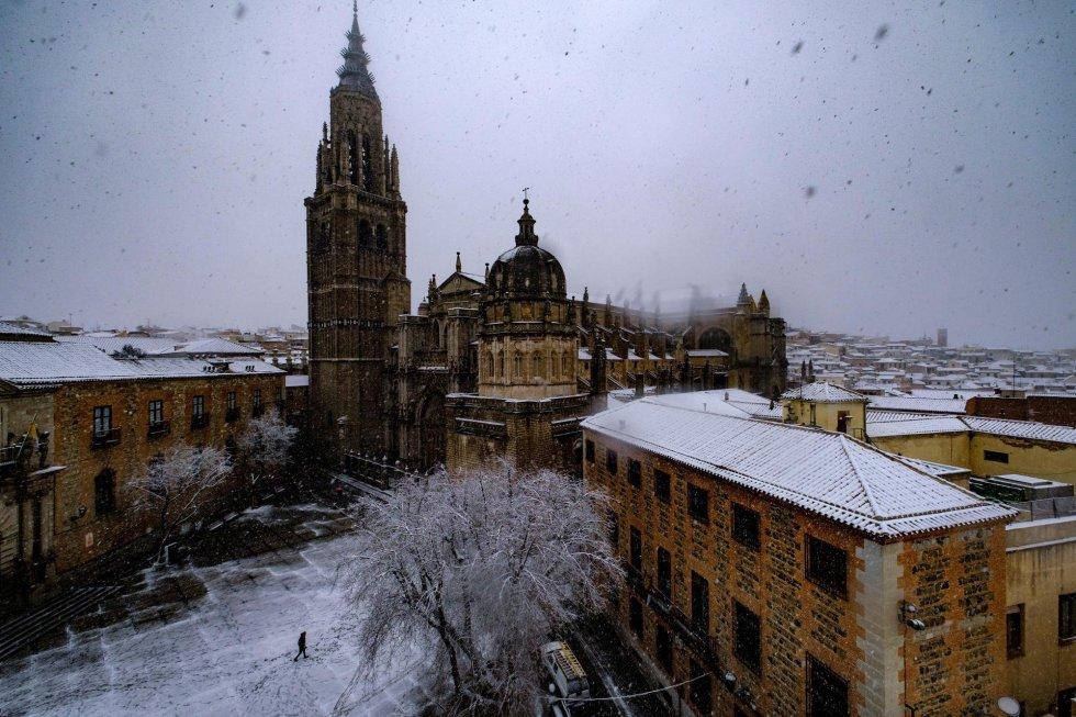 Fotografía de la Catedral de Toledo tras el paso de Filomena.