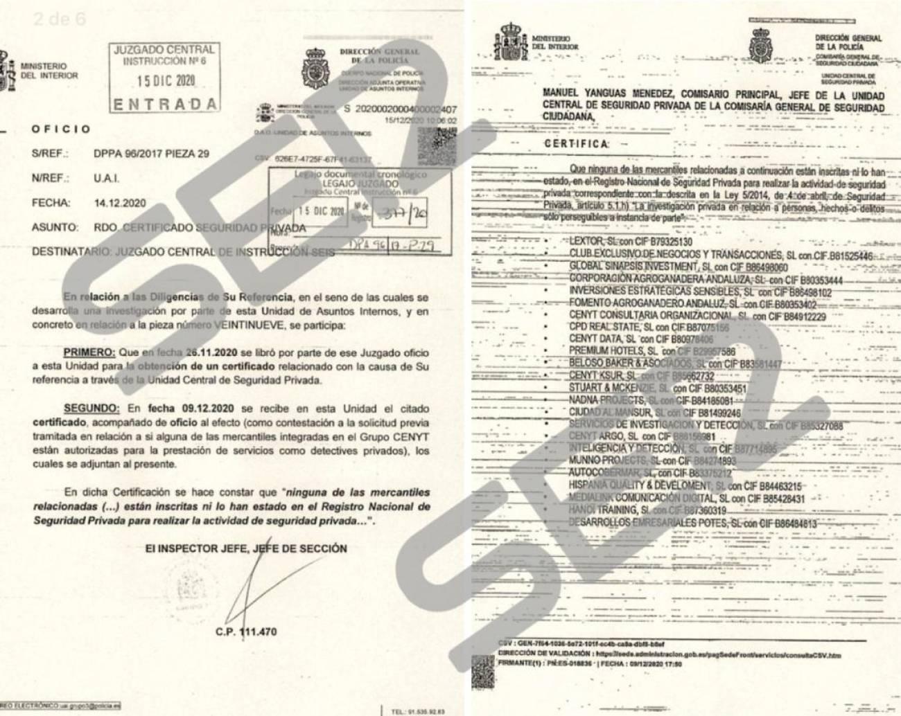 Ninguna de las empresas de Villarejo están inscritas en el Registro Nacional de Seguridad Privada