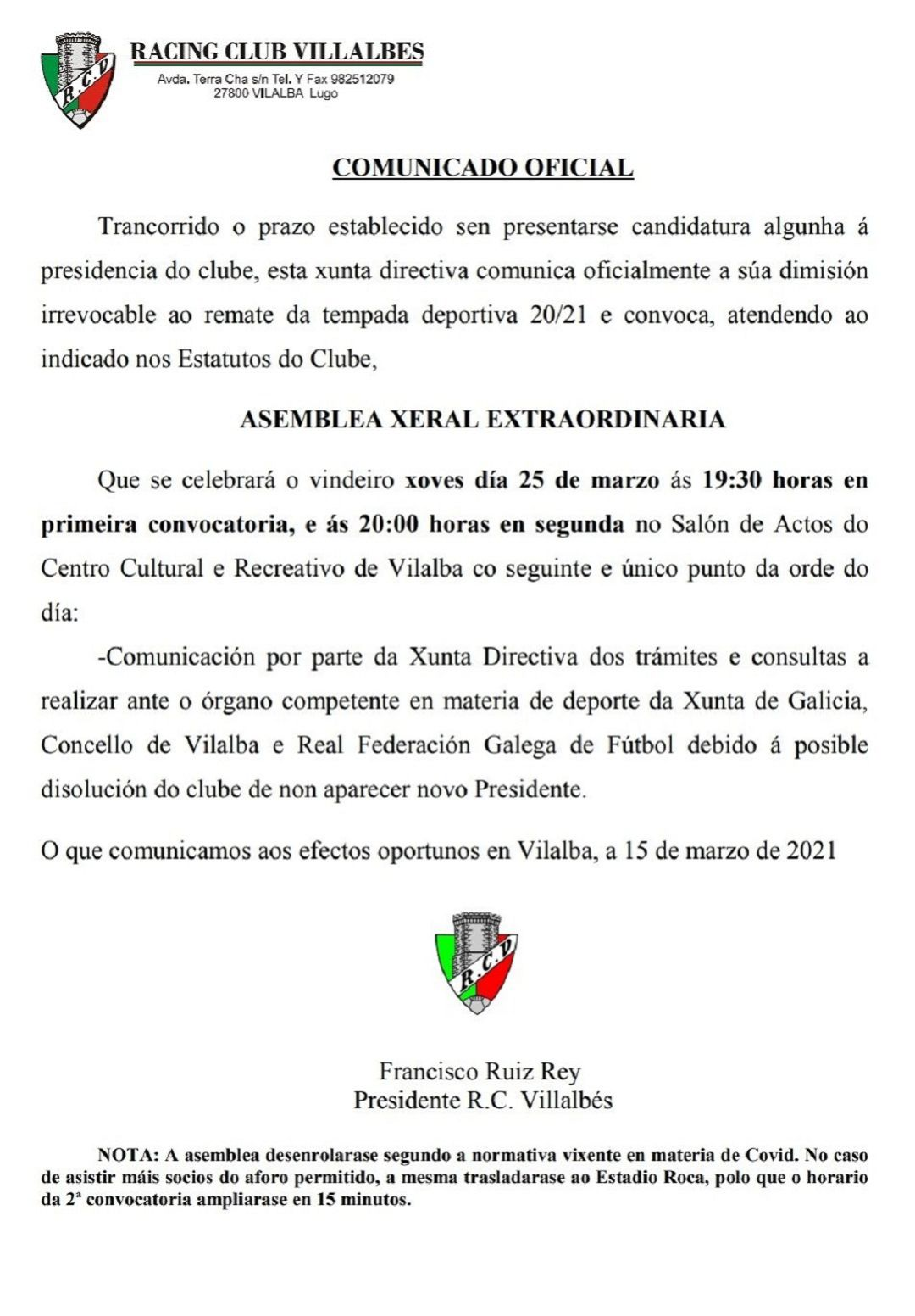 Comunicado oficial do Racing Vilalbés