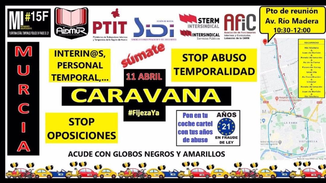 """Caravana de interinos contra el """"abuso"""" de la temporalidad en la enseñanza pública"""