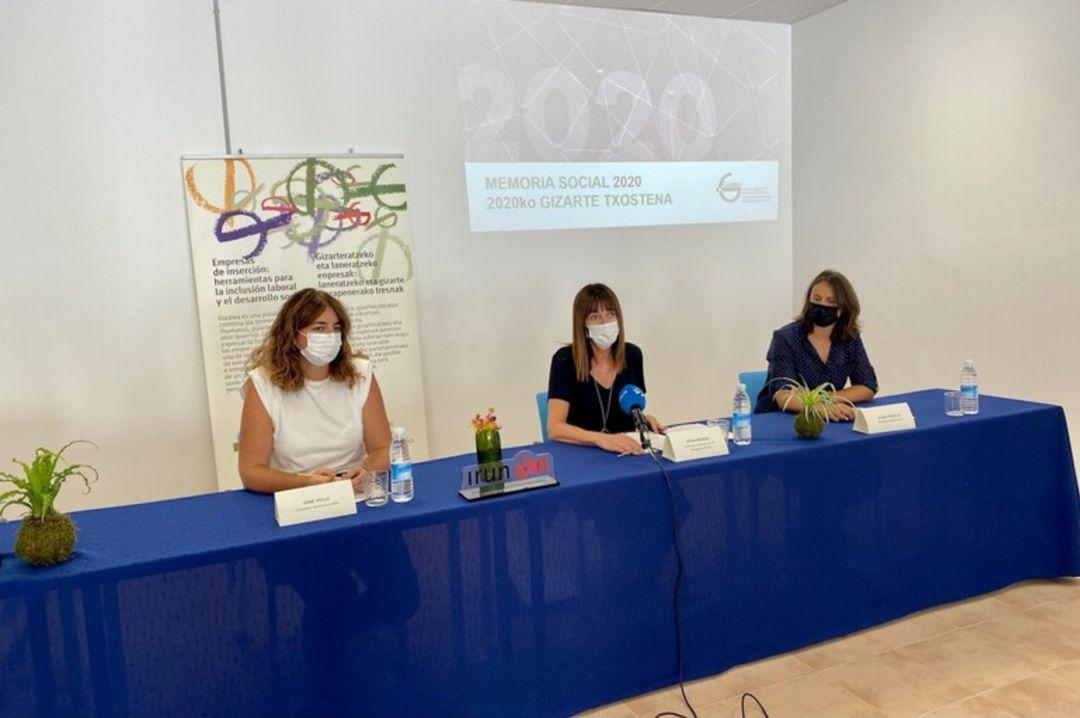 Idoia Mendia, consejera de Trabajo y Empleo, en la presentación de la memoria 2020 de Gizatea, Asociación de empresas de inserción del País Vasco.